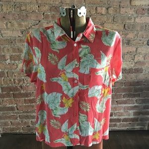 Plus size Forever 21 floral pint button down (NWT)